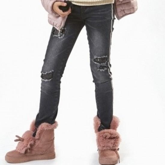 Τζιν παντελόνι με σκισίματα και παγιέτες μαύρο Εβίτα ΚΚ3006