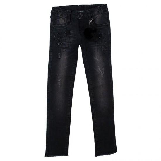 Τζιν παντελόνι με σκισίματα και αστέρι μαύρο Εβίτα ΚΚ3007