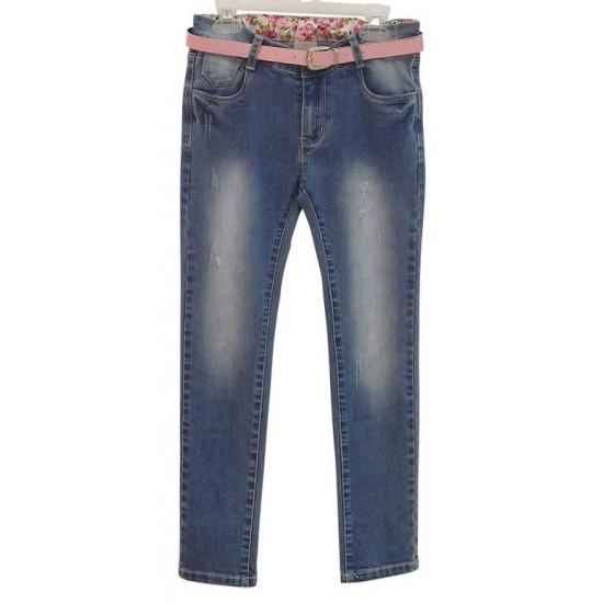 Παντελόνι τζιν με ξεβάμματα και ζώνη Εβίτα ΚΚ2556