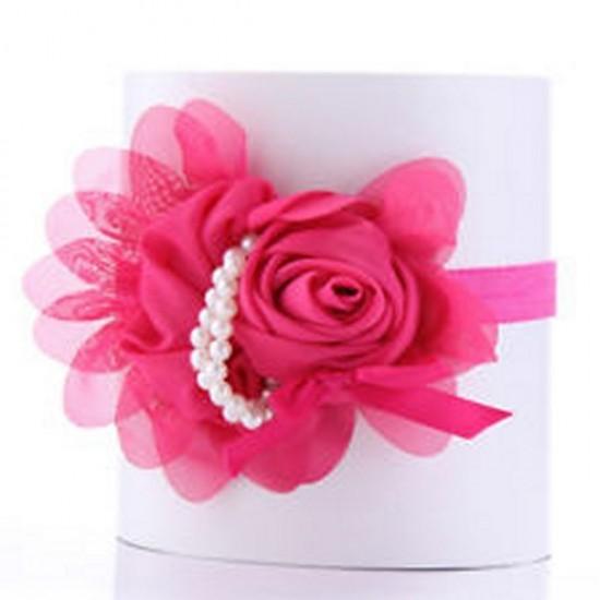 Κορδέλα με λάστιχο και μεγάλο λουλούδι με πέρλες ΚΑΞ100